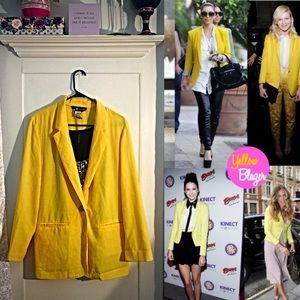 Popping Yellow One Button Pocket Blazer💕🎉🎉🎉🎉